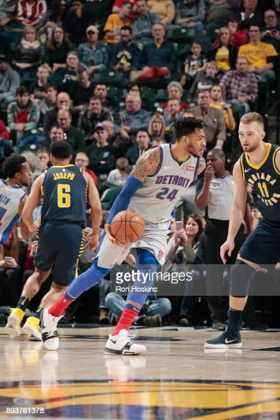 Eric Moreland of the Detroit Pistons handles the ball against the Indiana Pacers on December 15, 2017 at Bankers Life Fieldhouse in Indianapolis,...