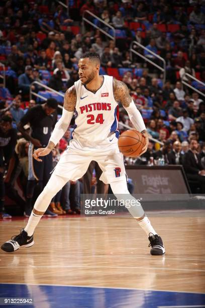 Eric Moreland of the Detroit Pistons handles the ball against the Memphis Grizzlies on February 1 2018 at Little Caesars Arena in Detroit Michigan...