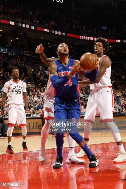 Eric Moreland of the Detroit Pistons handles the ball against the Toronto Raptors on February 26 2018 at the Air Canada Centre in Toronto Ontario...