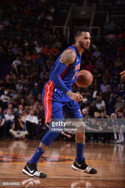 Eric Moreland of the Detroit Pistons handles the ball against the Phoenix Suns on March 20 2018 at Talking Stick Resort Arena in Phoenix Arizona NOTE...