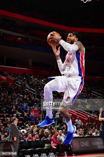 Eric Moreland of the Detroit Pistons handles the ball against the Dallas Mavericks on April 6 2018 at Little Caesars Arena in Detroit Michigan NOTE...