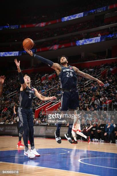 Eric Moreland of the Detroit Pistons handles the ball against the Toronto Raptors on April 9 2018 at Little Caesars Arena in Detroit Michigan NOTE TO...