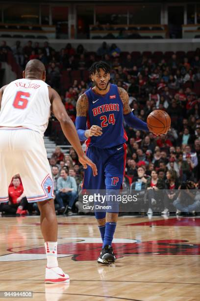 Eric Moreland of the Detroit Pistons handles the ball against the Chicago Bulls on April 11 2018 at the United Center in Chicago Illinois NOTE TO...