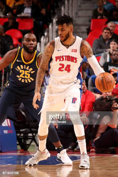 Eric Moreland of the Detroit Pistons handles the ball during the game against the Indiana Pacers on November 8 2017 at Little Caesars Arena in...