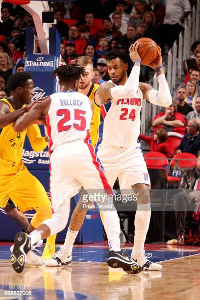 Eric Moreland of the Detroit Pistons handles the ball during the game against the Indiana Pacers on December 26 2017 at Little Caesars Arena in...