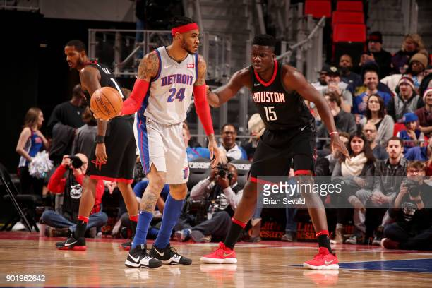 Eric Moreland of the Detroit Pistons handles the ball during the game against Clint Capela of the Houston Rockets on January 6 2018 at Little Caesars...