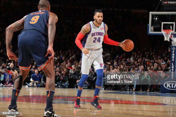 Eric Moreland of the Detroit Pistons handles the ball during the game against the New York Knicks on March 31 2018 at Madison Square Garden in New...