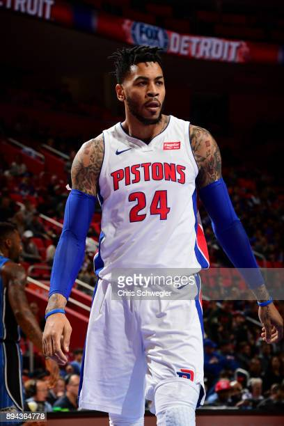 Eric Moreland of the Detroit Pistons looks on during game against the Orlando Magic on December 17, 2017 at Little Caesars Arena in Detroit,...