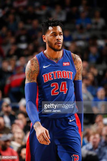 Eric Moreland of the Detroit Pistons looks on during game against the Dallas Mavericks on December 20 2017 at the American Airlines Center in Dallas...