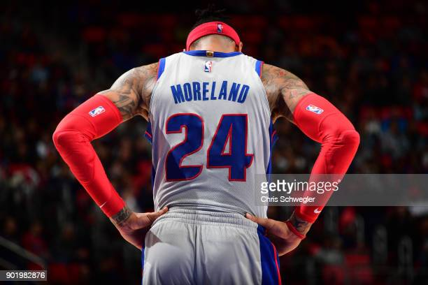 Eric Moreland of the Detroit Pistons looks on during the game against the Houston Rockets on January 6 2018 at Little Caesars Arena in Detroit...