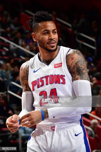Eric Moreland of the Detroit Pistons looks on during the game against the Chicago Bulls on March 24 2018 at Little Caesars Arena in Auburn Hills...
