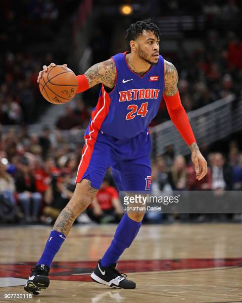 Eric Moreland of the Detroit Pistons moves against the Chicago Bulls at the United Center on January 13 2018 in Chicago Illinois The Bulls defeated...