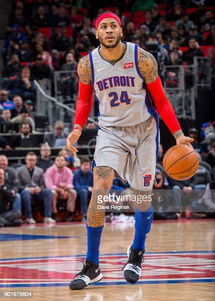 Eric Moreland of the Detroit Pistons moves the ball up court against the Houston Rockets during the an NBA game at Little Caesars Arena on January 6...