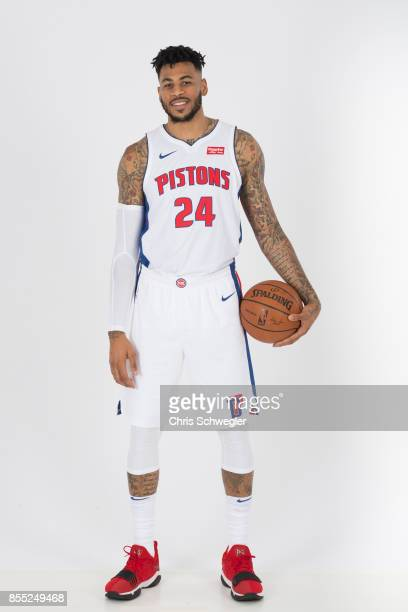 Eric Moreland of the Detroit Pistons poses for a portrait during Media Day on September 25 2017 at the Little Caesars Arena Detroit MI NOTE TO USER...