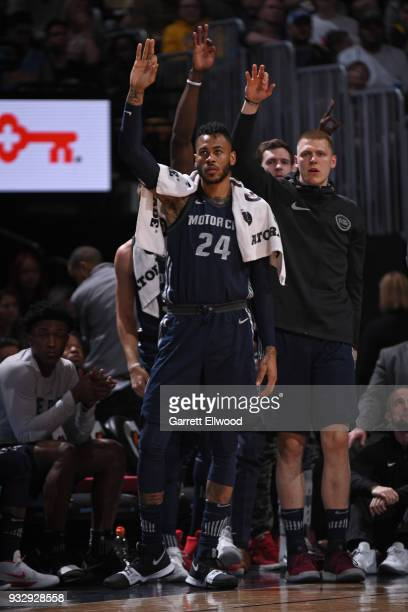 Eric Moreland of the Detroit Pistons reacts to a score during the game against the Denver Nuggets on March 15, 2018 at the Pepsi Center in Denver,...