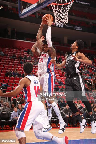 Eric Moreland of the Detroit Pistons rebounds the ball during the game against the Brooklyn Nets on January 21 2018 at the Little Caesars Arena in...