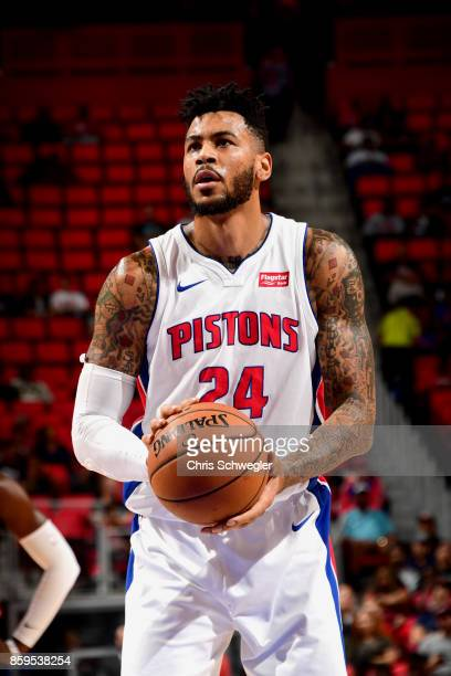 Eric Moreland of the Detroit Pistons shoots the ball against the Indiana Pacers on October 9 2017 at Little Caesars Arena in Detroit Michigan NOTE TO...