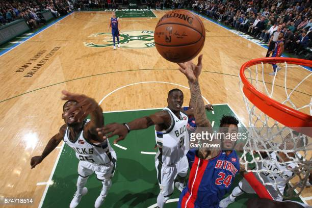 Eric Moreland of the Detroit Pistons shoots the ball against the Milwaukee Bucks on November 15, 2017 at the BMO Harris Bradley Center in Milwaukee,...