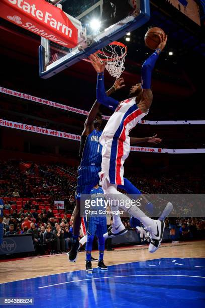 Eric Moreland of the Detroit Pistons shoots the ball against the Orlando Magic on December 17, 2017 at Little Caesars Arena in Detroit, Michigan....