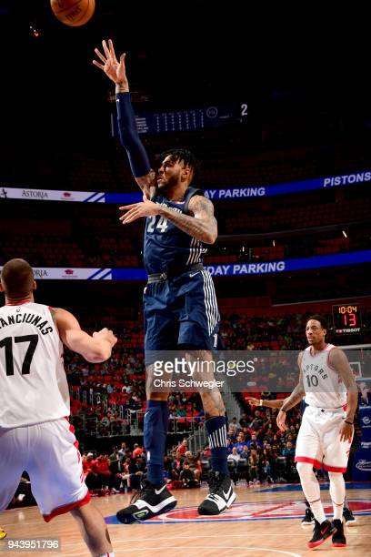 Eric Moreland of the Detroit Pistons shoots the ball against the Toronto Raptors on April 9 2018 at Little Caesars Arena Michigan NOTE TO USER User...