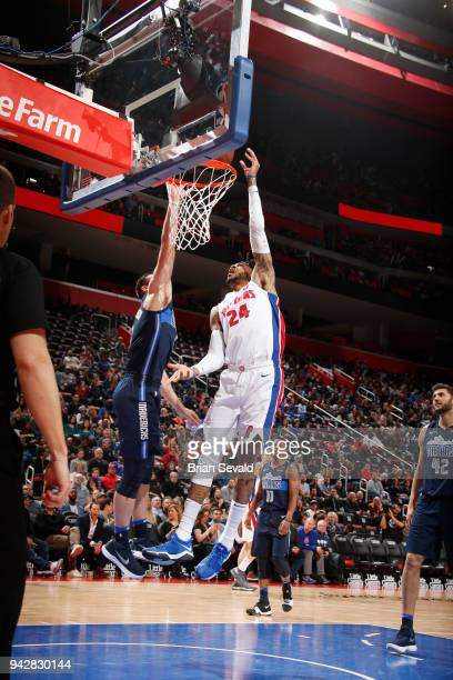 Eric Moreland of the Detroit Pistons shoots the ball during the game against the Dallas Mavericks on April 6 2018 at Little Caesars Arena in Detroit...