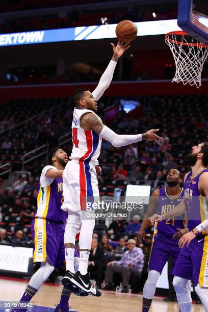 Eric Moreland of the Detroit Pistons takes a shot over Nikola Mirotic of the New Orleans Pelicans during the second half at Little Caesars Arena on...