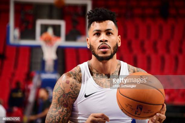 Eric Moreland of the Detroit Pistons warms up before the game against the Milwaukee Bucks on November 3 2017 at Little Caesars Arena in Detroit...