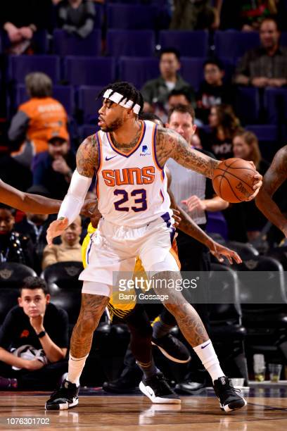 Eric Moreland of the Phoenix Suns handles the ball against the Golden State Warriors on December 31 2018 at Talking Stick Resort Arena in Phoenix...