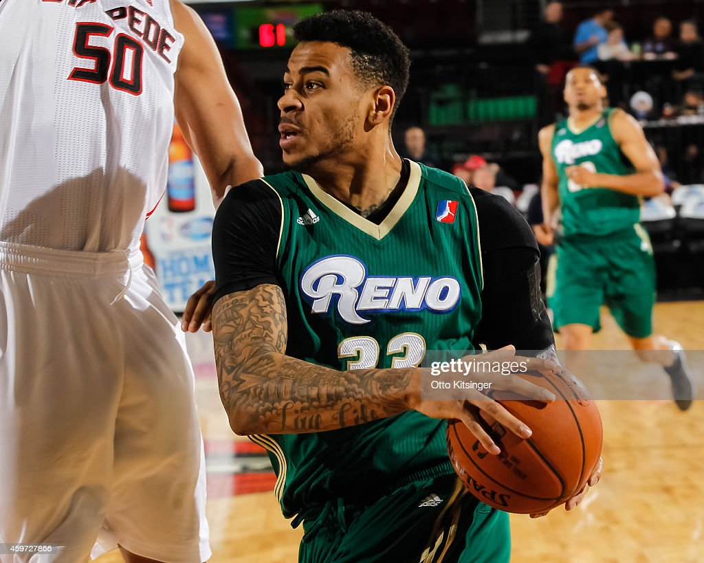 Eric Moreland #33 of the Reno Bighorns looks to the basket during an NBA D-League game against the Idaho Stampede on November 28, 2014 at CenturyLink Arena in Boise, Idaho.