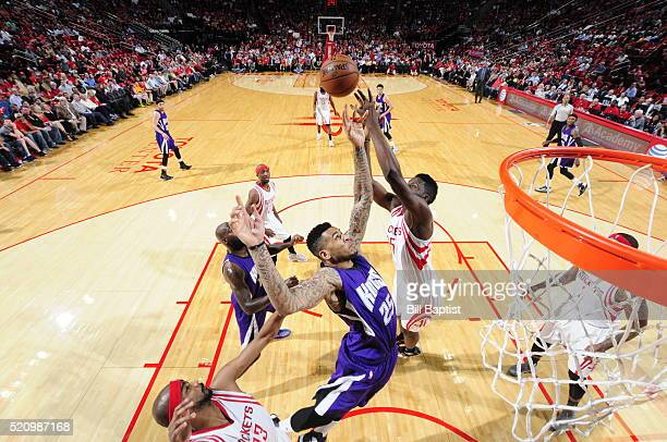 Eric Moreland of the Sacramento Kings grabs the rebound against the Houston Rockets on April 13 2016 at the Toyota Center in Houston Texas NOTE TO...