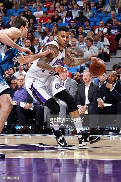 Eric Moreland of the Sacramento Kings handles the ball against the Minnesota Timberwolves on April 7 2016 at Sleep Train Arena in Sacramento...