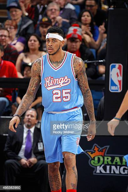 Eric Moreland of the Sacramento Kings looks on during the game against the Los Angeles Lakers on October 30 2015 at Sleep Train Arena in Sacramento...