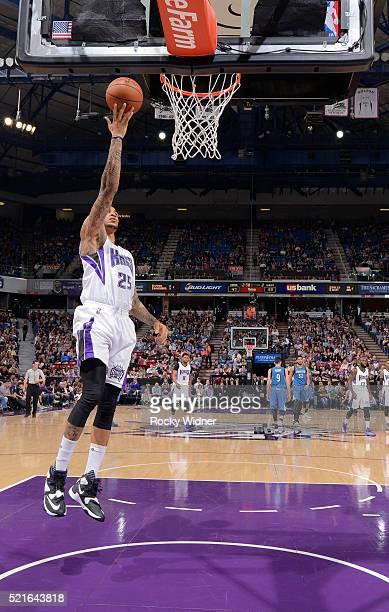 Eric Moreland of the Sacramento Kings shoots a layup against the Minnesota Timberwolves on April 7 2016 at Sleep Train Arena in Sacramento California...