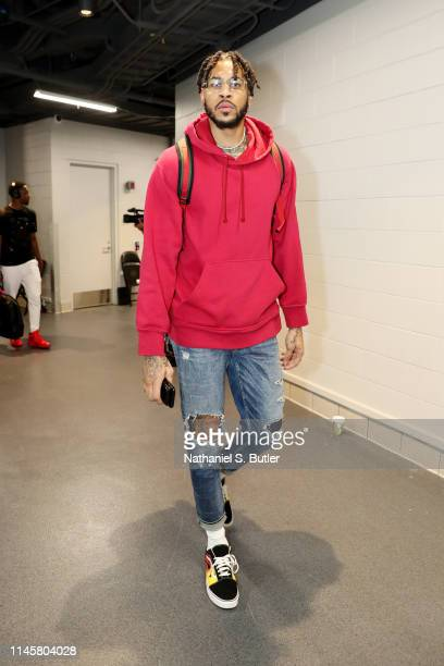 Eric Moreland of the Toronto Raptors arrives to the arena prior to Game Five of the Eastern Conference Finals of the 2019 NBA Playoffs against the...