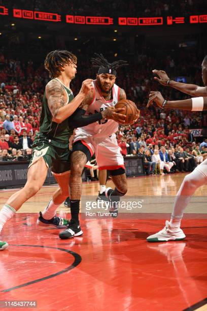 Eric Moreland of the Toronto Raptors goes to the basket against the Milwaukee Bucks during Game Four of the Eastern Conference Finals on May 21 2019...