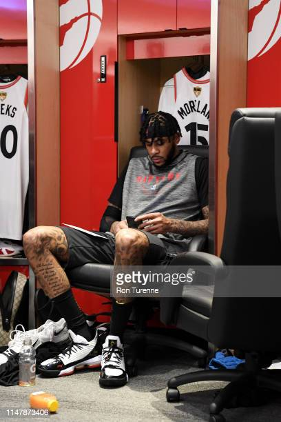 Eric Moreland of the Toronto Raptors is seen in the locker room before Game Two of the NBA Finals on June 2 2019 at Scotiabank Arena in Toronto...