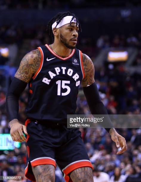 Eric Moreland of the Toronto Raptors looks on during the second half of an NBA game against the New York Knicks at Scotiabank Arena on March 18 2019...