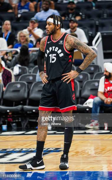 Eric Moreland of the Toronto Raptors looks on during their game against the Orlando Magic at Amway Center on April 21 2019 in Orlando Florida