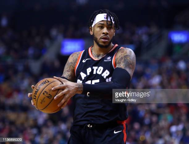 Eric Moreland of the Toronto Raptors passes the ball during the first half of an NBA game against the New York Knicks at Scotiabank Arena on March 18...