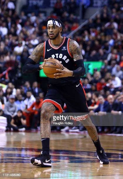 Eric Moreland of the Toronto Raptors passes the ball during the second half of an NBA game against the New York Knicks at Scotiabank Arena on March...