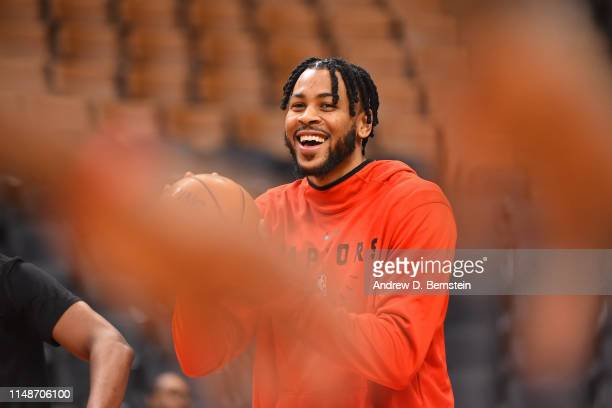 Eric Moreland of the Toronto Raptors smiles and laughs during NBA Finals Practice and Media Availability on June 9 2019 at Scotiabank Arena in...