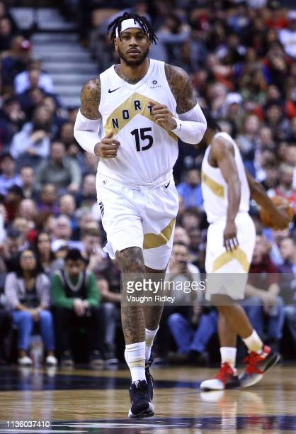 Eric Moreland of the Toronto Raptors takes to the court in his Raptors debut during the second half of an NBA game against the Los Angeles Lakers at...