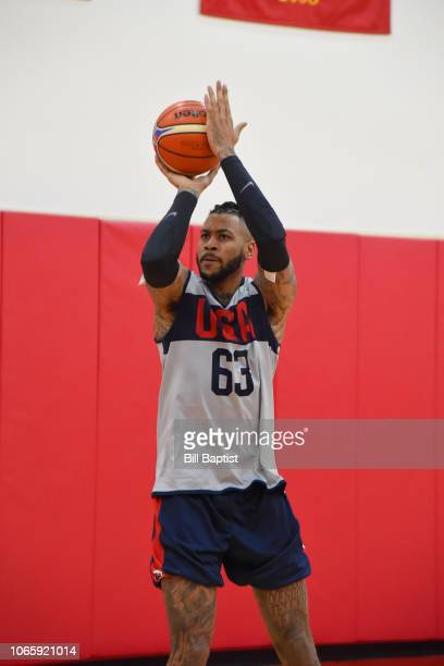 Eric Moreland of the USA Basketball World Cup Qualifying team shoots the ball during a practice at the Toyota Center in Houston Texas on November 23...