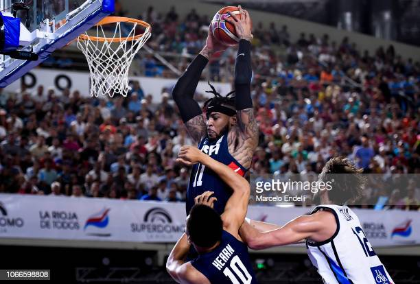 Eric Moreland of USA fight for the rebound during a match between Argentina and USA as part of FIBA Americas Qualifier for FIBA Basketball World Cup...