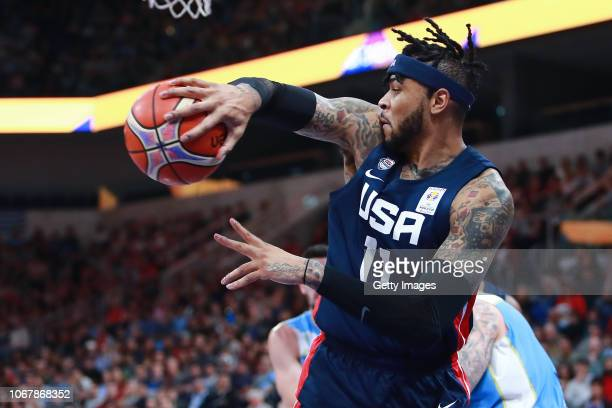 Eric Moreland of USA passes the ball during a match between Uruguay and USA as part of Group E of FIBA Americas Qualifiers for China 2019 FIBA World...