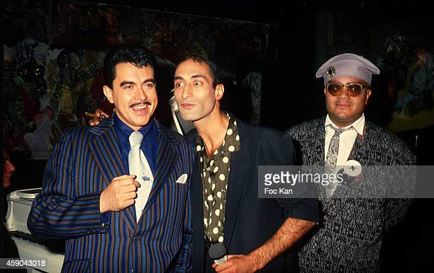 Eric Morena Farid Chopel and Guy Cuevas attend a party at Les Bains Douches in the 1980s in Paris France