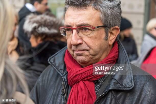 Eric Moréno lors de la marche blanche en hommage à sa fille AnneLaure victime d'un chauffard le 3 décembre 2016 à Lyon France