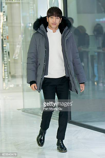 Eric Mun of South Korean boy band Shinhwa attend the photocall for 'Mackage' KStar Launch at the Lotte Department Store on November 15 2016 in Seoul...