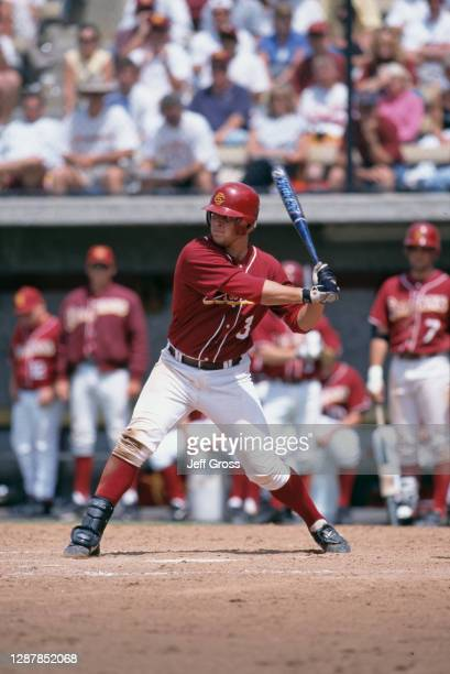 Eric Munson, Catcher for the University of Southern California USC Trojans at bat during the NCAA Division I Baseball Palo Alto Super Regional...