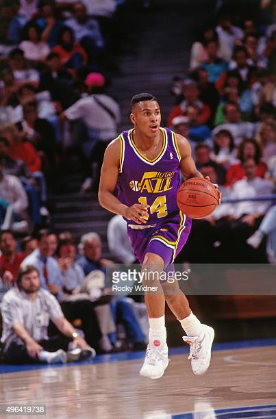 Eric Murdock of the Utah Jazz dribbles against the Sacramento Kings circa 1992 at Arco Arena in Sacramento California NOTE TO USER User expressly...